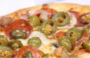 ピザにハラペーニョ