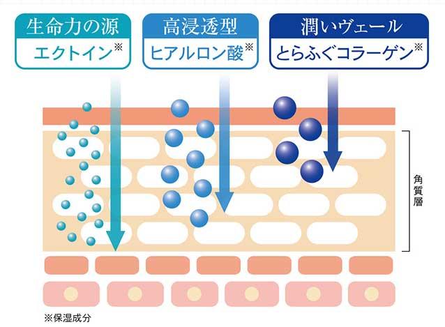3種類(エクトイン・ヒアルロン酸・とらぶぐコラーゲン)の保湿成分