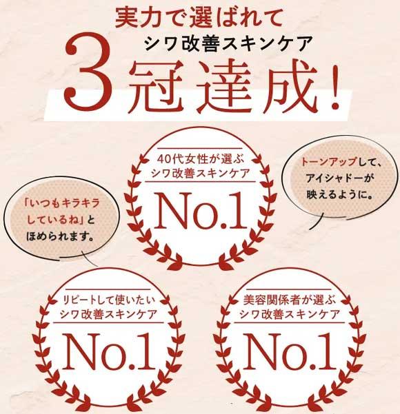 シワ改善スキンケア3冠獲得