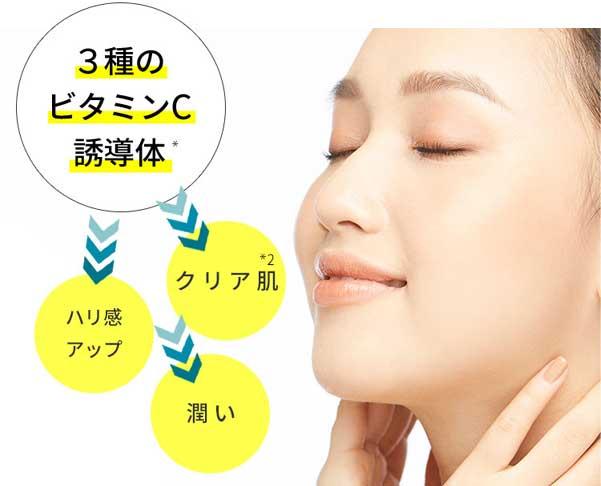 肌のハリ感をアップし、潤いとツヤのあるクリアな透明肌へ