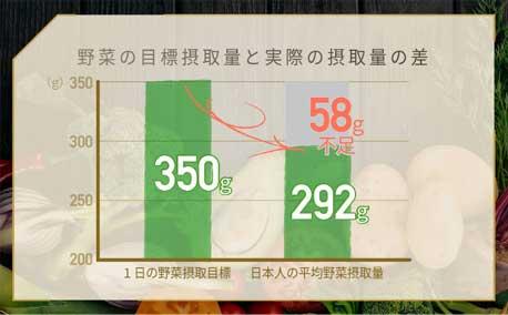 日本人は1日58gの野菜不足